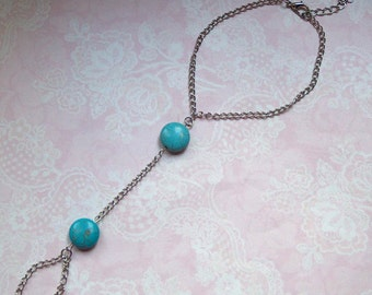 Anklet toe chain silver turquoise Beanie stone