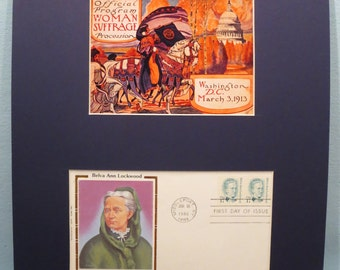 The 1913 Women's Suffrage March in Washington for the Right to Vote & Belva Ann Lockwood First Day Cover