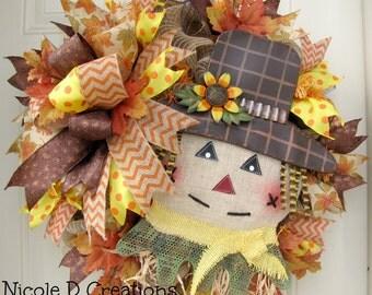 Scarecrow Thanksgiving Wreath- Fall Autumn Wreath- Deco Mesh Wreath- Front Door Wreath!