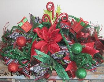 Christmas Centerpiece- Holiday Wreath -Deco Mesh-Seasonal Gift Centerpiece
