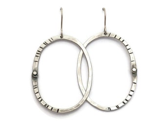 Western Lights Rivet Hoops >>> Sterling Silver // Organic Hammered Look // Riveted Construction // Hand-Forged