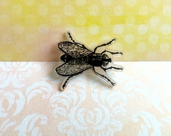 Hand Drawn Fly/Bug/Insect, Shrink Plastic Brooch, One of a Kind Brooch - Ready to Ship