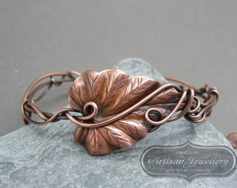 Copper bracelet ~ Unique gift for boho friend ~Adjustable copper bangle bracelet ~ Wire wrapped copper bracelet ~  Woodland bracelet ~