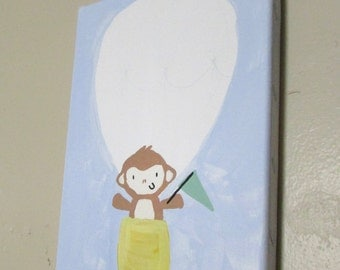 Monkey in a Hot Air Balloon Custom Made Baby Nursery Art for Baby's Name, Weight and Birthday