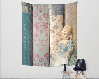 Sense and Sensibility Wall Tapestry: Wall art, wall decor, wall hanging, library, books, Jane Austen, blue, vintage,