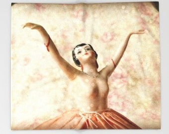 Dance with Sparkles Throw Blanket: bedding, home decor, ballet, vintage pin cushion, doll, fleece, pink
