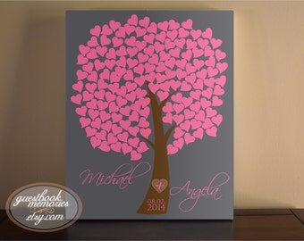 Heart Guest - Heart Guestbook Canvas - 150 Guests - Wedding Tree Guest Book Canvas - Heart Tree Guest Book - Signature Hearts - Guest book