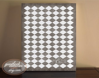 Harlequin Guestbook- 89-155 Guests - 16x20 print - Argle Guest Book - Vintage Guest Book - Guest book print