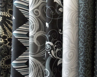 Black and Gray Fabric 30 Piece Jelly Roll 2.5 Inch x 44 Inch Fabric Strips Quilt Fabric High Quality Cotton
