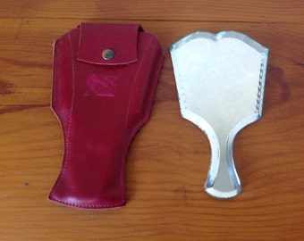 Vintage little Attractive hand mirror, pocket mirror, mirror of bag with its cover, beveled