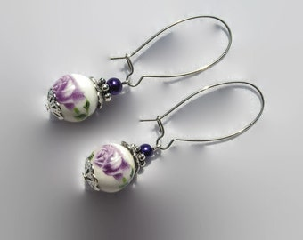 Earrings long flower ceramic beads and purple glass beads handmade