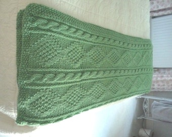 Hand Knitted Moss Green Heavy Weight Afghan Throw or Blanket