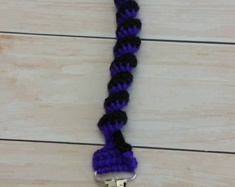 Dark Purple and Black Swirl Spring Pacifier Clip with Skull Clip