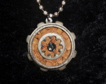 Upcycled steel locknut and cork double sided necklace