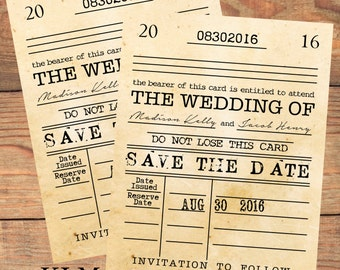 Inspired Collection - Library Card Save The Date