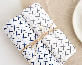 Windmill Pattern Cotton Fabric by Yard - 2 Colors Selection
