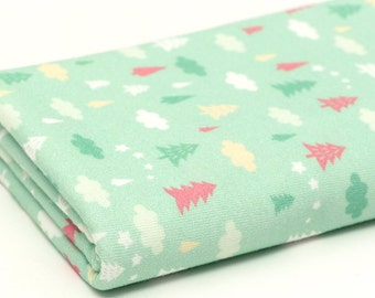 Cloud and Tree Cotton Knit Fabric (Mint Green)