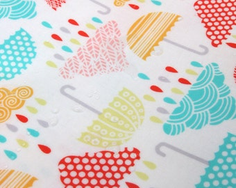 Laminated Colorful Umbrellas and Cloud Pattern Cotton Fabric by Yard - AE39