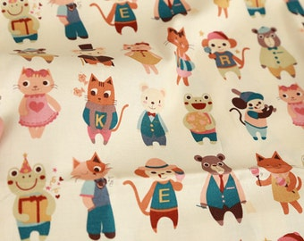 Cute Animal Pattern Cotton Fabric by Yard AE40
