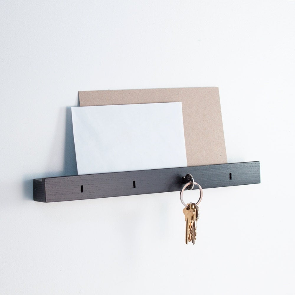 Linear Wall Mounted Key Holder In Black Ash