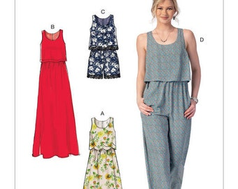 McCall's Sewing Pattern M7409 Misses' Overlay-Bodice Dresses, Romper and Jumpsuit