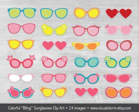 Girls Sunglasses Clipart Summer Beach Clipart Pink Cartoon