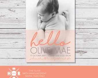 Printable - The 'Olive' Birth Announcement | Baby Thank You Card