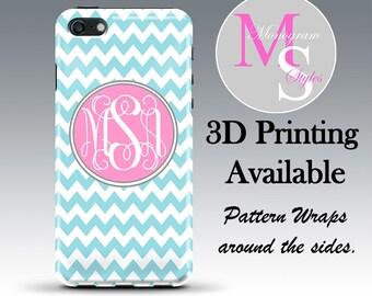 Monogram iPhone 6 Case iphone 4, 4s Personalized Phone Case Blue Chevron Monogrammed iPhone 5, 5S, iPhone 5C, iPhone 6 Plus Tough Case #2091