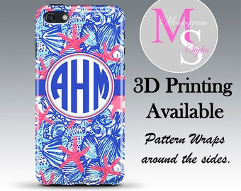 Monogram iPhone 6 Case Personalized Phone Case Lilly Pulitzer Inspired Monogrammed iPhone, Iphone 4, 4S iPhone 5, 5S, 5C iPhone 6 Plus #2321