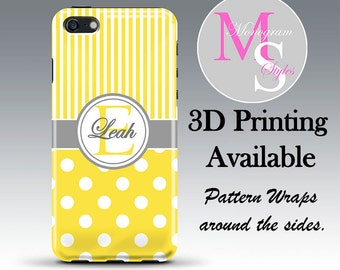 Monogram iPhone 5 Case, Personalized Phone Case Yellow Striped iPhone Monogrammed iPhone 6 Case Iphone 4S Iphone 4 iPhone 5S iPhone 5C #2308