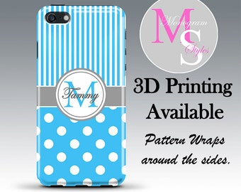 Monogram Personalized iPhone 6 Case Baby Blue Monogrammed iPhone 4, Personalized Iphone 4S, Iphone 5C, iPhone 5S, iPhone 5 Tough Case #2511