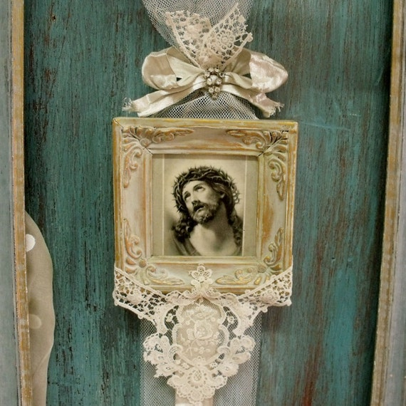 Wall Decor With Rhinestone : Vintage christ lace rhinestones wall decor