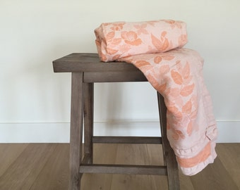 Vintage Peach color BEDSPREAD Bed Cover Light Summer Weight