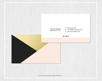 Modern Business Card Design - Black, Blush & Gold