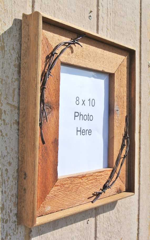 Rustic Picture Frame 8x10 Reclaimed Wood Frames 8 X 10 Barbed