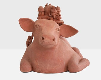 judith inglese terracota sculpture 'the holy cow', judith inglese art, terracota sculpture, modern sculpture, contemporary art sculpture