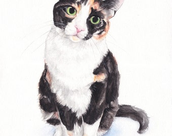 "8"" x 10"" Custom Watercolor Full Body Pet Portrait"