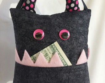 Tooth Fairy Monster Pillow- black/pink