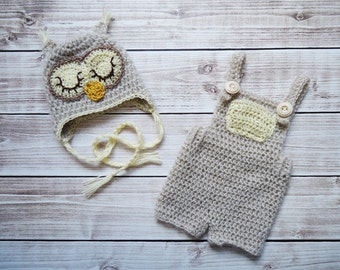Crochet Owl Hat and pants, Newborn Owl hat, Crochet Owl set, Sleep owl hat