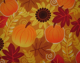 Harvest Sunflower and Pumpkin Cotton Fabric Sold by the Yard