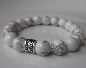 Positivity bracelet, mens beaded bracelet, Anxiety Meditation jewelry, White Howlite, white bracelet, Chunky mens bracelet, UK Seller