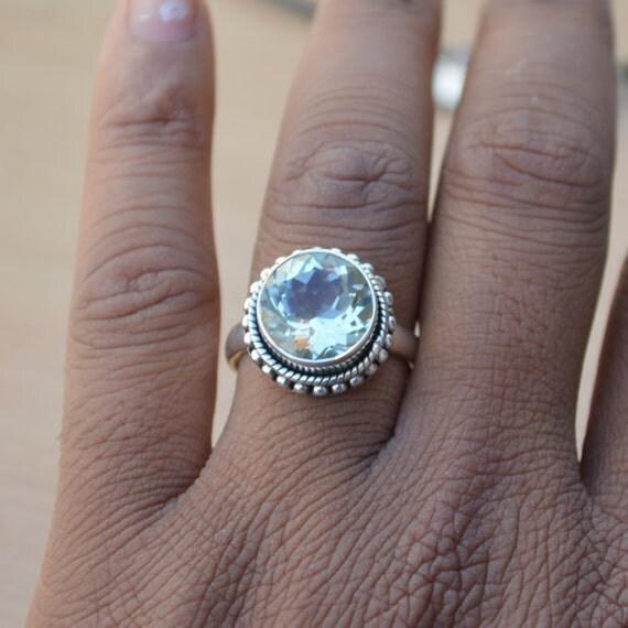 Prasiolite Gemstone Ring, Green Amethyst Ring, 925 Sterling Silver Round Cut Prasiolite Ring, Birthstone Ring, Designer Gift Ring Size 10