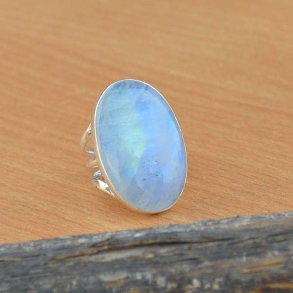 AAA Huge Rainbow Moonstone Gemstone Ring, Moonstone Ring, Solid 925 Sterling Silver Ring, June Birthstone Ring, Classic Gift Ring Size 7.25