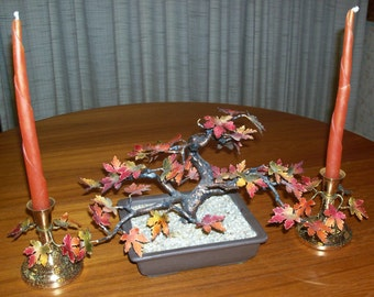 REDUCED Vintage Bovano of Cheshire Enamel on Copper Low Autumn Fall Maple Leaf Bonsai Tree Sculpture, Candleholders and Tray–Limited Edition