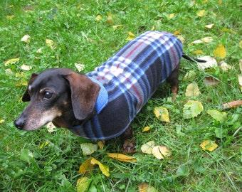 Dachshund Jacket~~Reversible Fleece Dog Jacket~~Blue Plaid Fleece Print~ Double Fleece Dog Coat~Dachshund Clothes~Fleece Dog Jacket