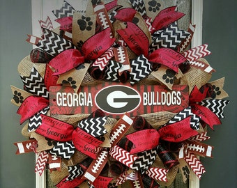 UGA Wreath,Burlap University of Georgia Wreath,Football Burlap Wreath,Georgia Bulldogs Wreath,Tailgate Party Decoration,Go Dawgs!