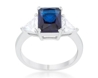 4.5 ctw Classic Sapphire White Gold Rhodium plated Engagement Wedding Ring