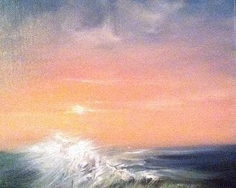 "Small Seascape Oil Painting, Ocean Painting, Beach Decor, Sunset Painting, ""Sparkle Ahead"" 8x10"" original oil painting"