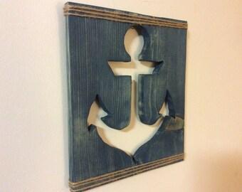 Wooden Anchor Cutout Wall Art, reclaimed wood anchor, nautical wood anchor, rustic beach house decor, baby nursery, summertime art, ocean