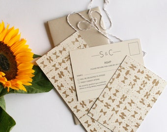 Gold pattern wedding invitation, information and RSVP card SAMPLE*